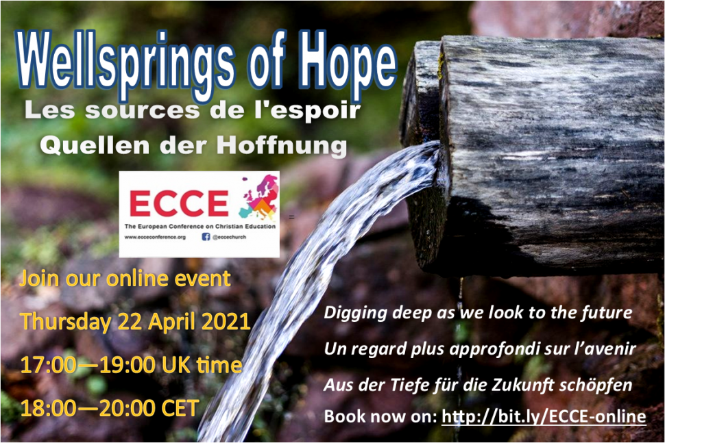 Wellsprings of Hope advert for online conference on 22 April 2021